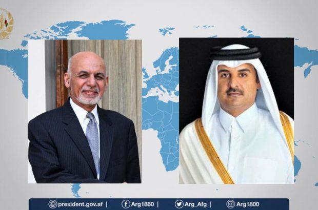 رییس جمهور غنی در پیوند به گفتگوهای صلح با امیر قطر صحبت کرد